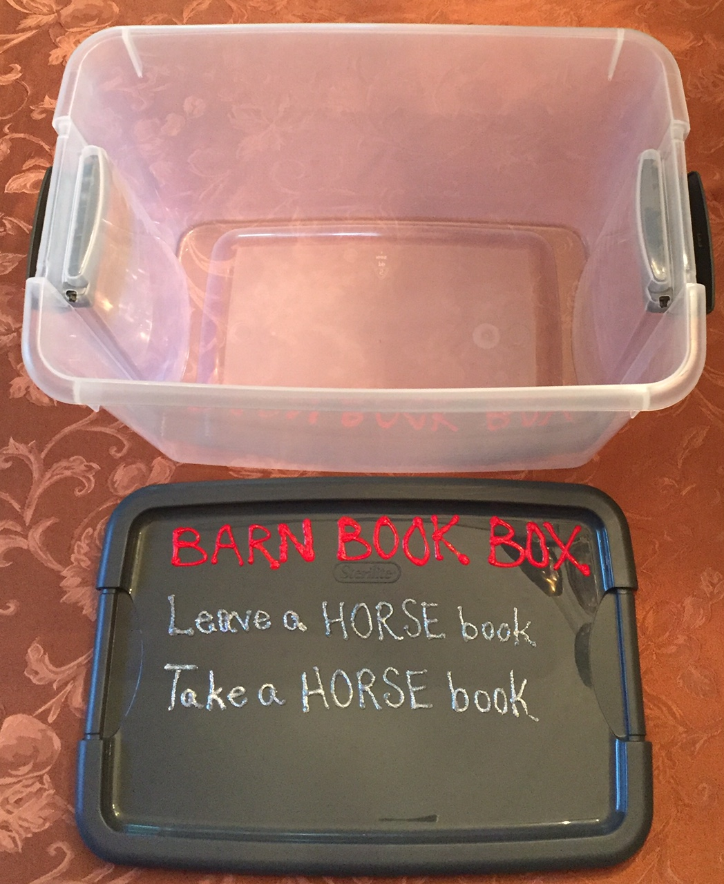 Barn Book Box Empty Bin n Lid